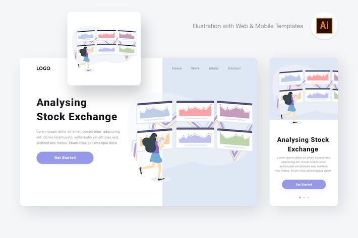 Thumbnail for Analysing stock exchange illustration (AI, SVG)