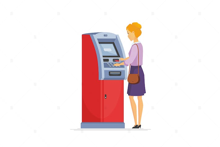 Thumbnail for Young woman using ATM - vector illustration