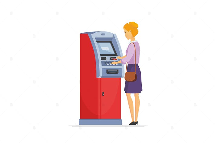Thumbnail for Mujer joven Uso ATM - ilustración Vector