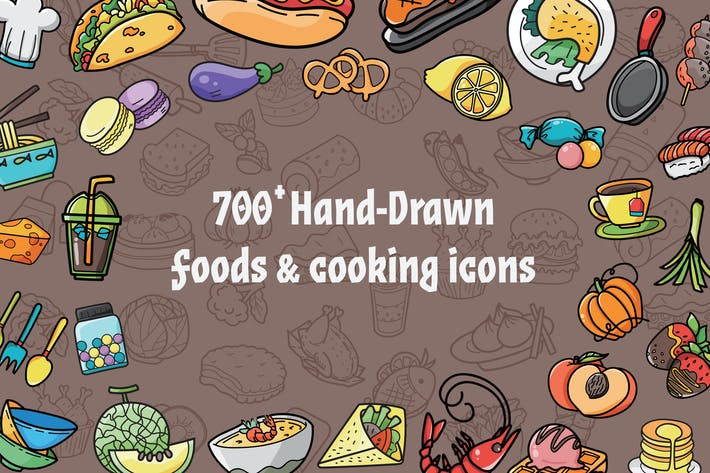 Thumbnail for 700 Food Cooking Hand Drawn Icons