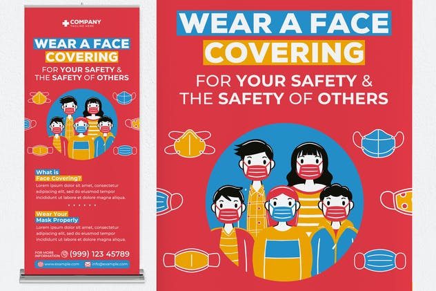 Wear A Face Covering Roll Up Banner