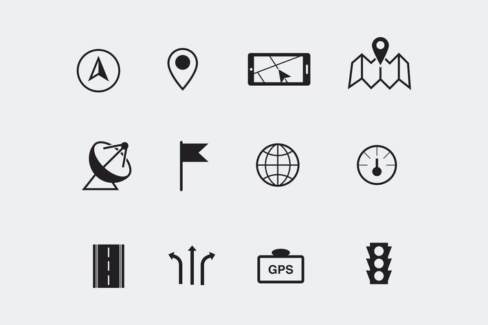 Thumbnail for 12 GPS and Navigation Icons