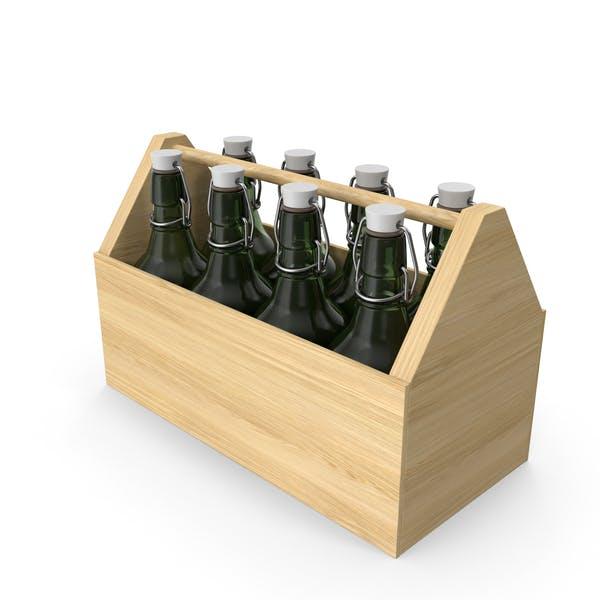 Thumbnail for Portabotellas de madera con cerveza