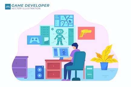 Game Developer Flat Illustration