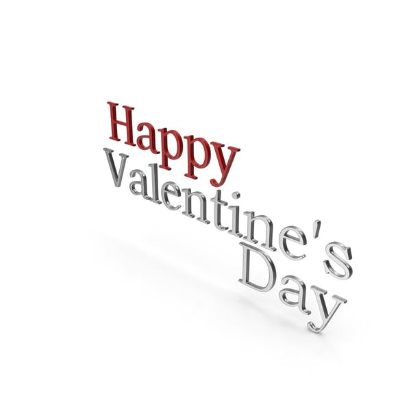 Happy Valentine's Day Symbol Red and Silver