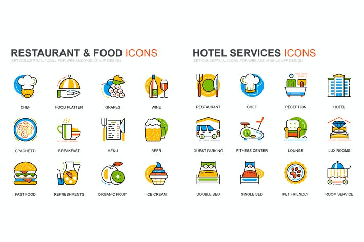 Thumbnail for Hotel Service and Restaurant Line Icons Set