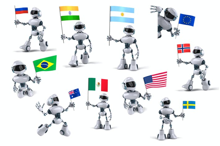 Thumbnail for 10 fun Robots with flags !