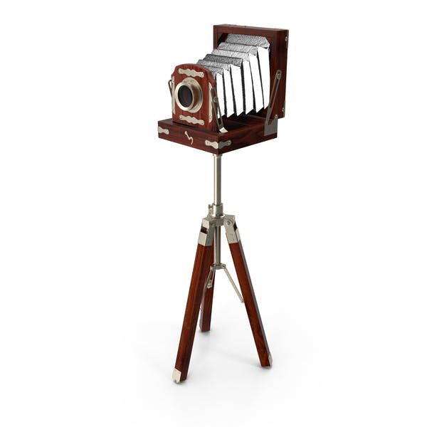 Antique Folding Plate Camera and Tripod