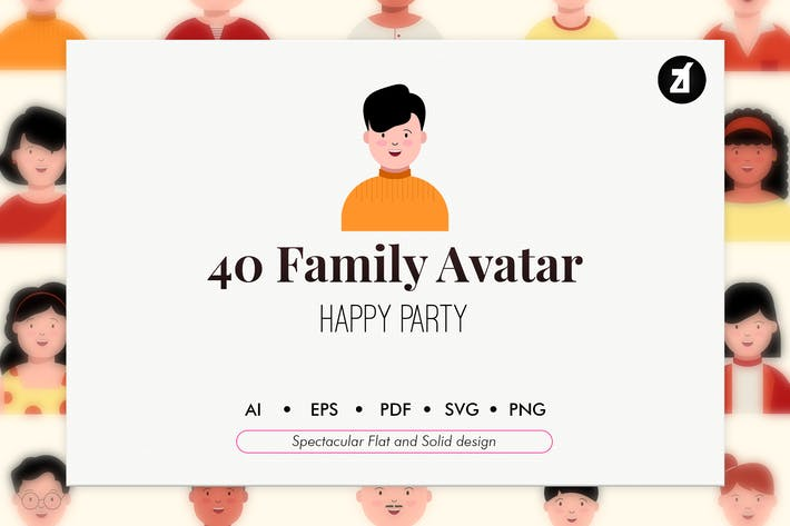 Thumbnail for 40 Family avatar in flat and solid design