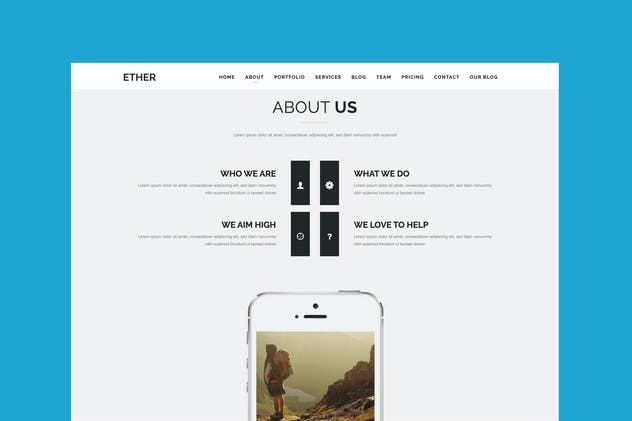 Ether - One Page Joomla Template - product preview 0