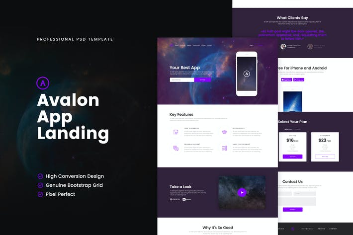 Avalon App PSD Template