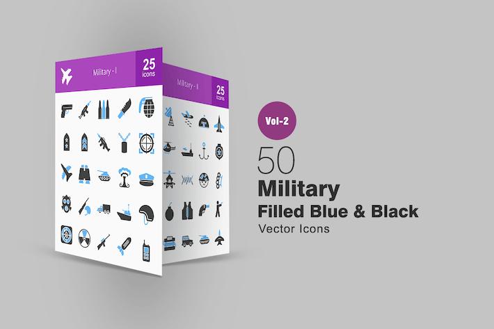 Thumbnail for 50 Military Blue & Black Icons