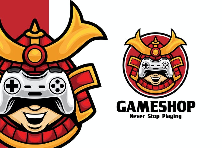 Samurai Game Shop Logo Mascot Template