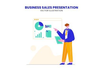 Business Sales Presentation Flat Illustration