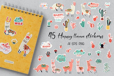 Happy Llama Stickers