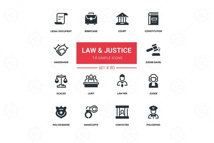 Thumbnail for Law and justice - line design icons set
