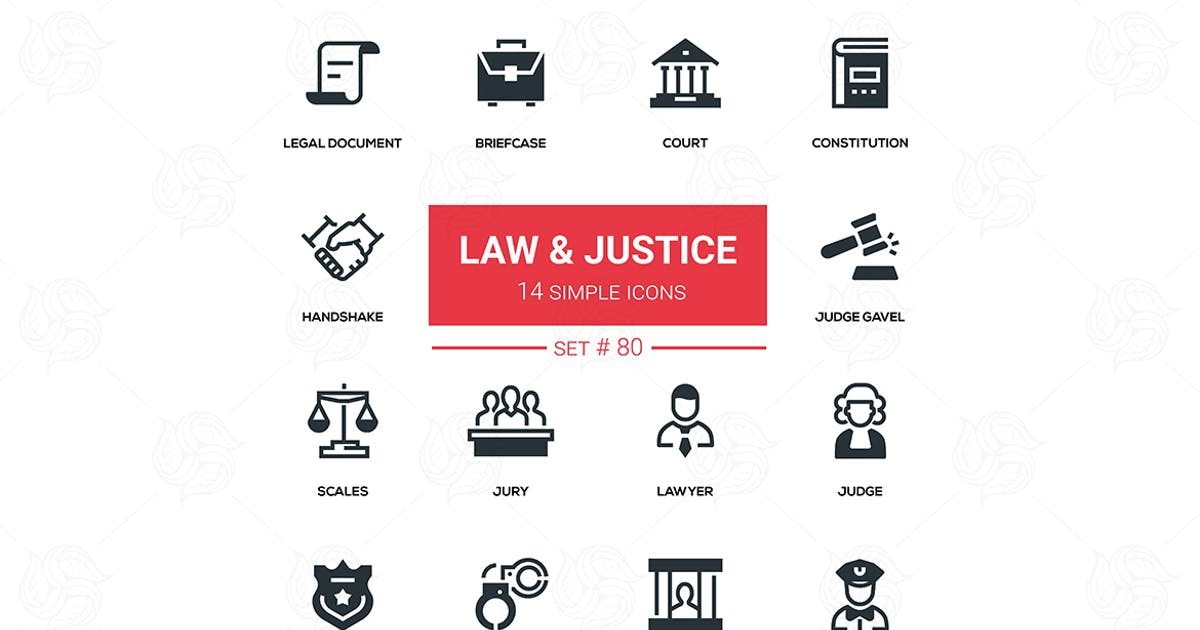 Download Law and justice - line design icons set by BoykoPictures