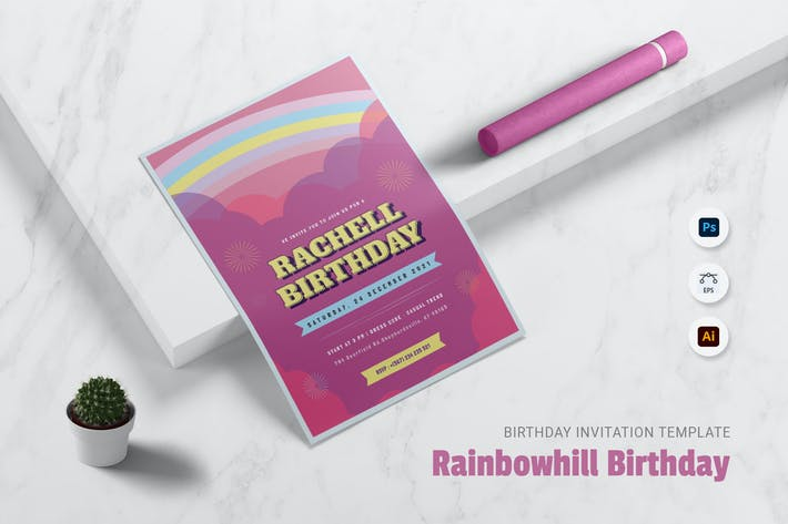 Rainbowhill Birthday Invitation