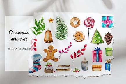 Christmas Watercolor elements