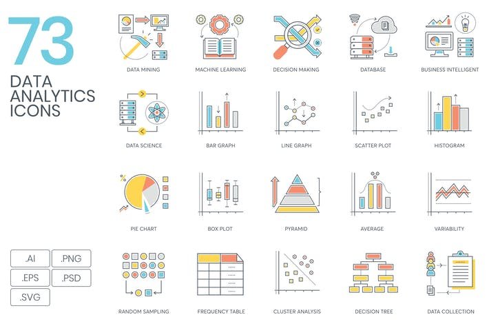 Thumbnail for 73 Data Analytics Icons