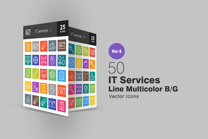 Thumbnail for 50 IT Services Line Multicolor B/G Icons