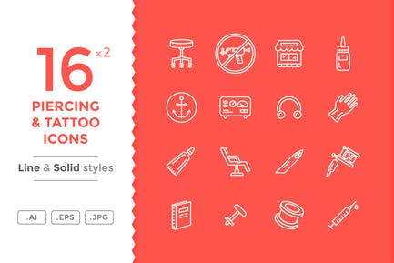 Tattoo And Piercing Icons