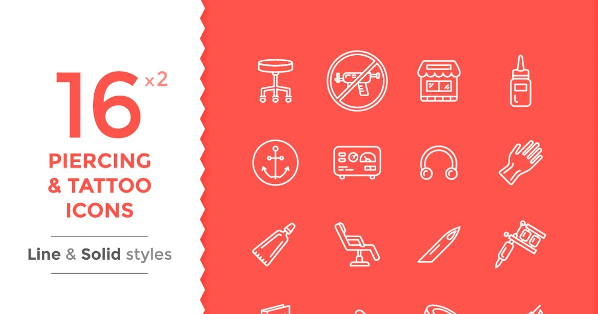 Tattoo And Piercing Icons by Unknow