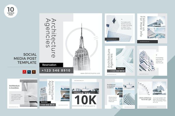 Thumbnail for Architecture Agency Social Media Kit PSD & AI