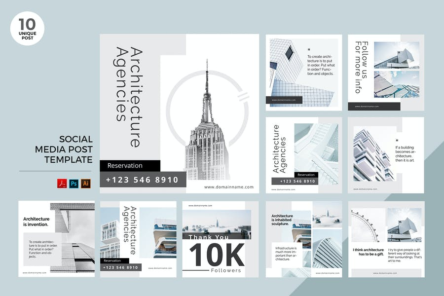 Architecture Agency Social Media Kit PSD & AI