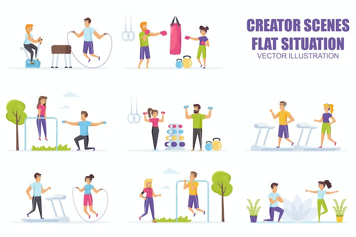 Thumbnail for Collection Fitness Workout Flat Scene Situation