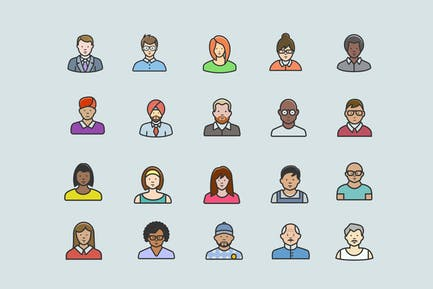 20 Diverse Avatar Icons