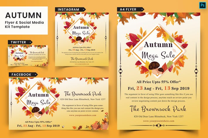 Thumbnail for Autumn Festival Flyer & Social Media Pack-14
