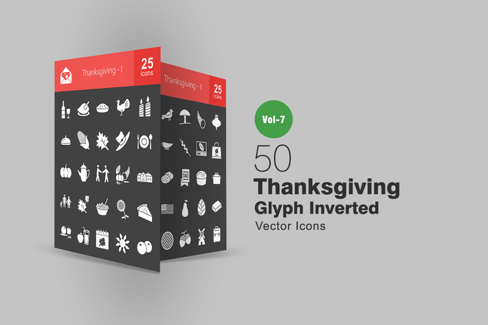 Thumbnail for 50 Thanksgiving Glyph Inverted Icons