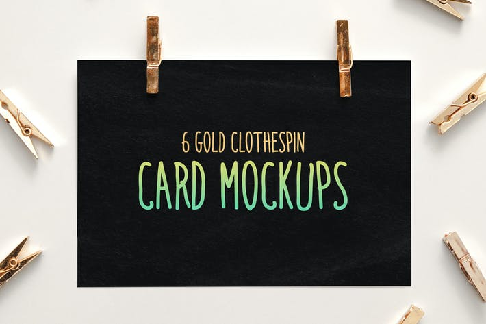 Thumbnail for 6 Gold Clothespin-Style Card Mockups
