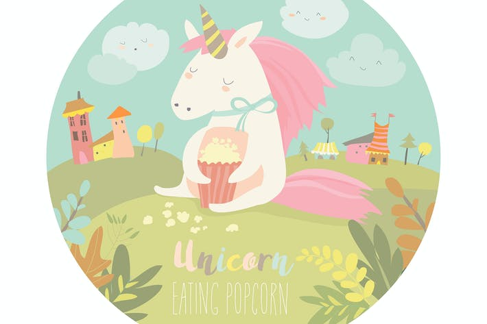 Thumbnail for Little cute unicorn eating popcorn. Vector
