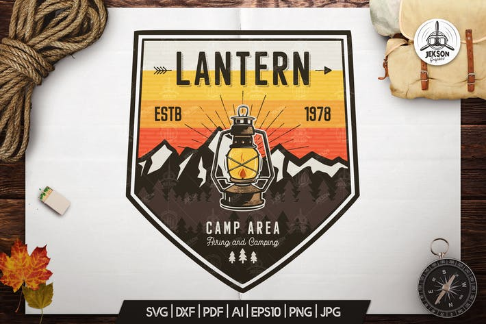 Thumbnail for Camp Lantern Badge / Vintage Travel Logo Patch SVG