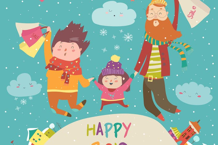 Thumbnail for Cartoon vector illustration of a happy family