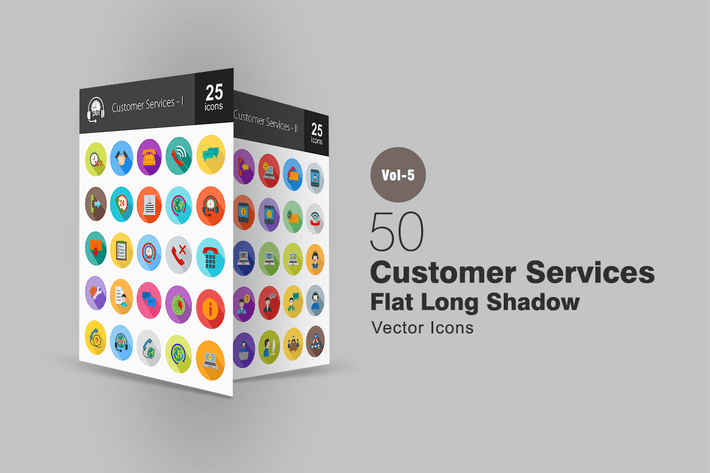 Thumbnail for 50 Customer Services Flat Shadowed Icons