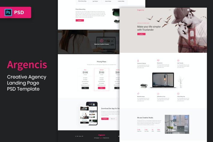Thumbnail for Creative Agency - Landing Page PSD Template