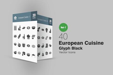 40 European Cuisine Glyph Icons