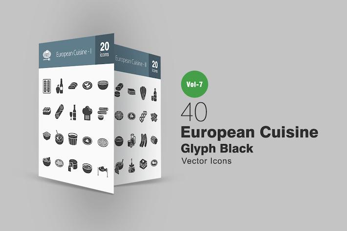 Thumbnail for 40 European Cuisine Glyph Icons