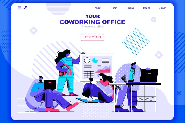 Thumbnail for Coworking Office Flat Concept Landing Page Header