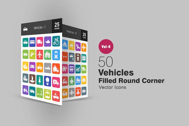 50 Vehicles Filled Round Corner Icons