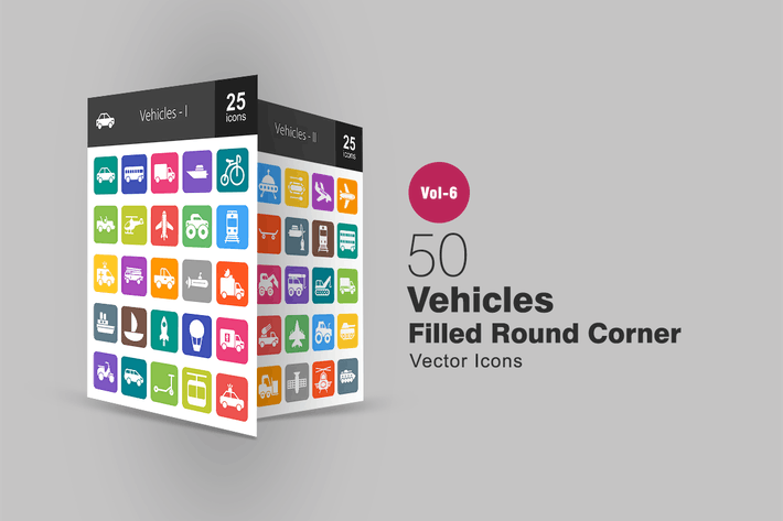 Thumbnail for 50 Vehicles Filled Round Corner Icons