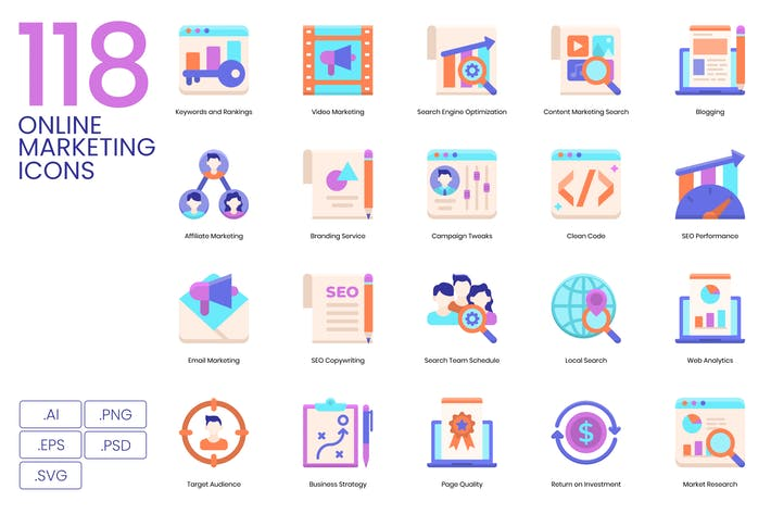 Thumbnail for 118 Online Marketing Flat Icons | Violet