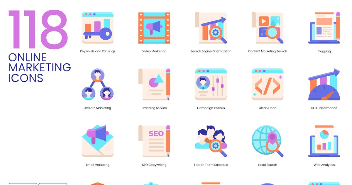 Download 118 Online Marketing Flat Icons | Violet by Krafted