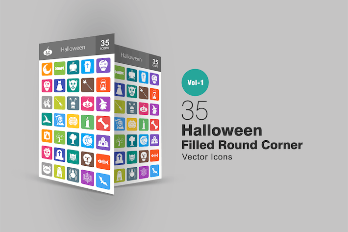 Thumbnail for 35 Halloween Flat Round Corner Icons