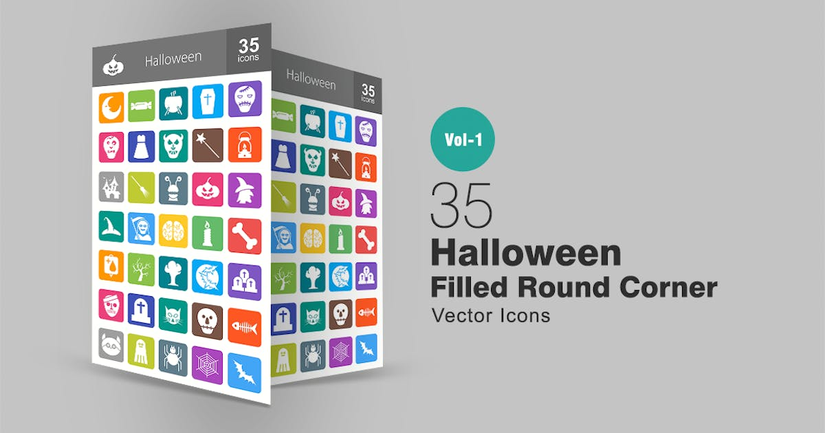Download 35 Halloween Flat Round Corner Icons by Unknow