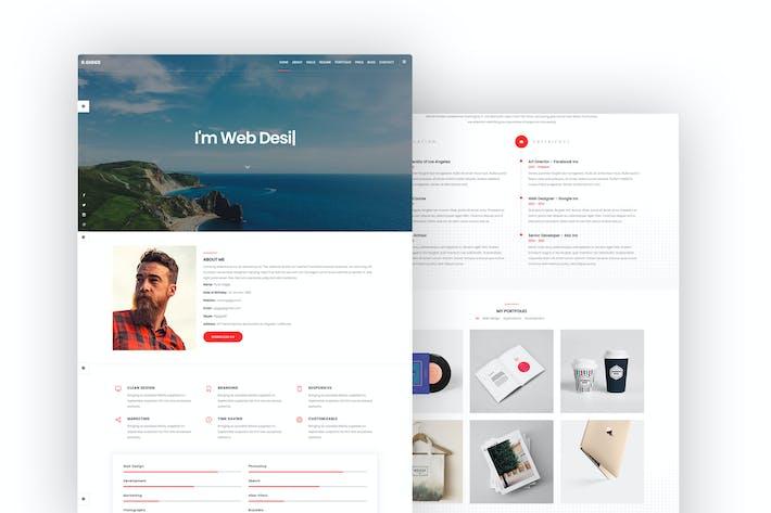 Thumbnail for R. Giggs - Portfolio, Resume & Cv Template