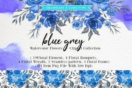 Blau Grau Aquarell